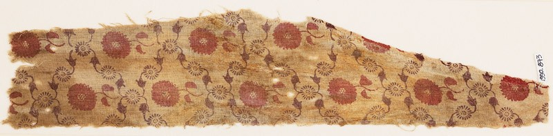 Textile fragment with grid of vines and flowers, probably from a garment