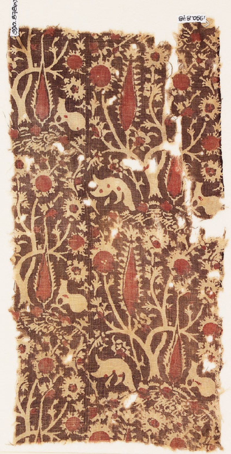 Textile fragment with elaborate trees (EA1990.878.a, front              )