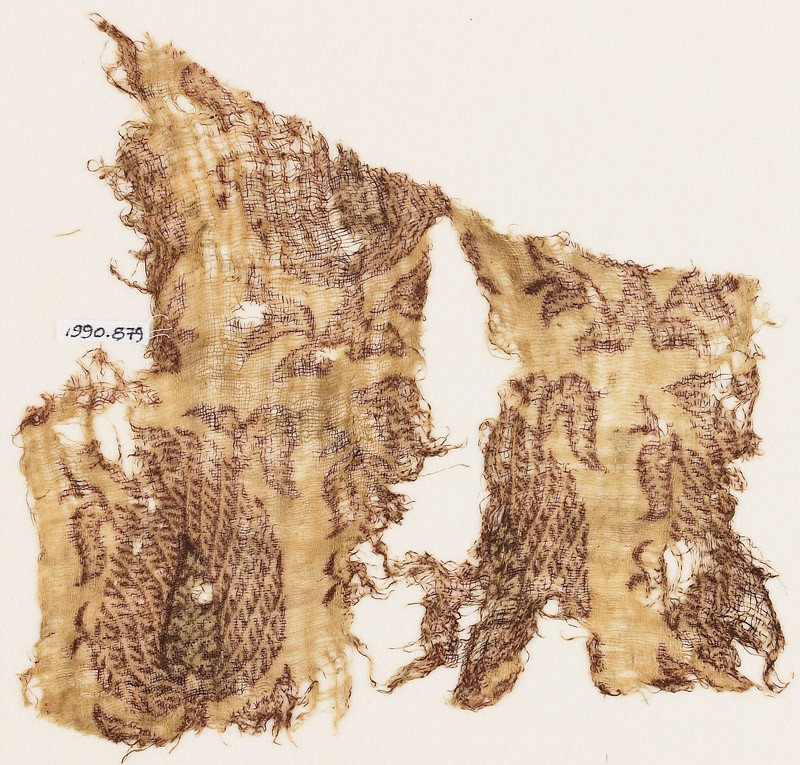 Textile fragment with stylized trees (front            )
