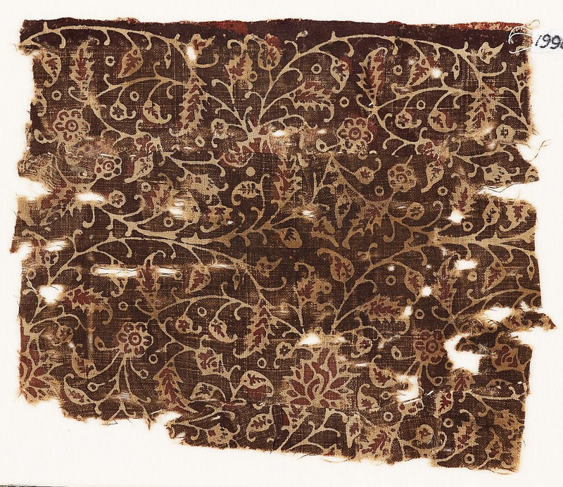 Textile fragment with tendrils and flowers, possibly from a garment (front            )