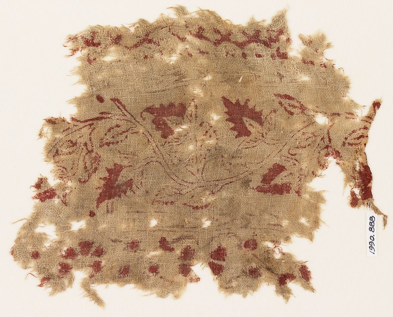 Textile fragment with vine and flowers (EA1990.888, front            )