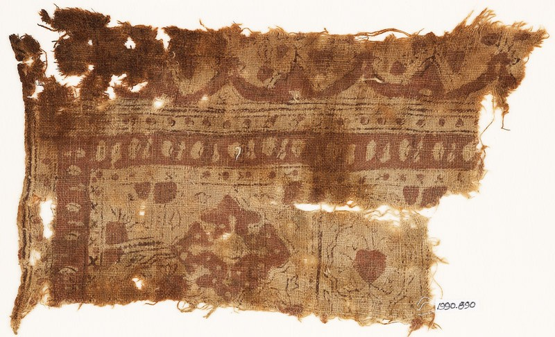 Textile fragment with medallions and arches (EA1990.890, front            )