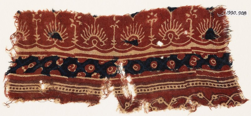 Textile fragment with bands of flowers, palmettes, and circles (EA1990.908, front            )