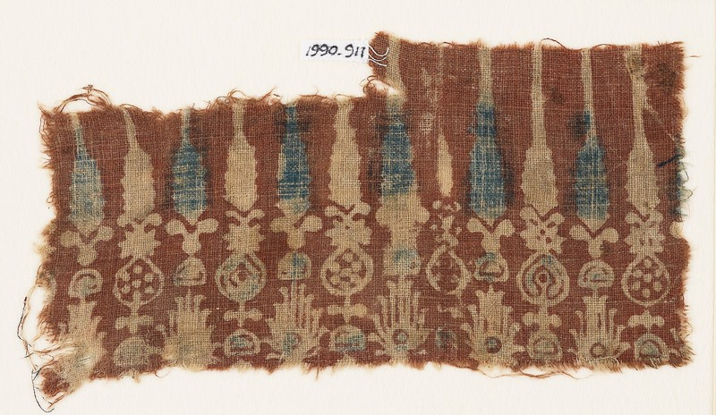 Textile fragment with stylized plants (EA1990.911, front            )