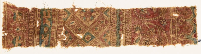 Textile fragment with bands of tendrils, flowers, and squares (front            )