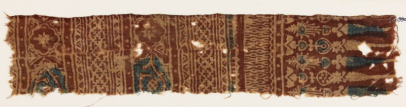 Textile fragment with bands of medallions, quatrefoils, and stylized plants