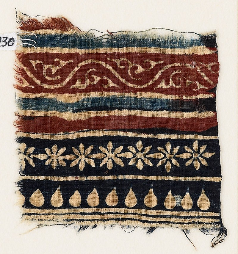 Textile fragment with bands of vine, rosettes, and tear-drops