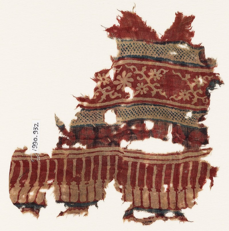 Textile fragment with tendrils, rosettes, and pillars