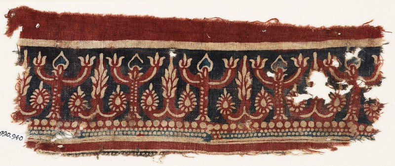 Textile fragment with flowering trees