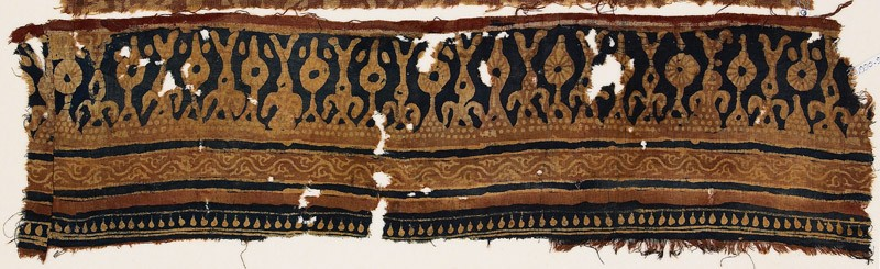 Textile fragment with stylized trees and rosettes (front            )