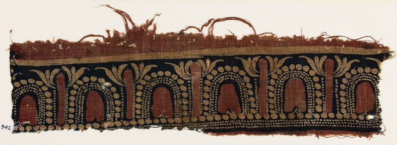 Textile fragment with stylized trees and arches (EA1990.942, front            )