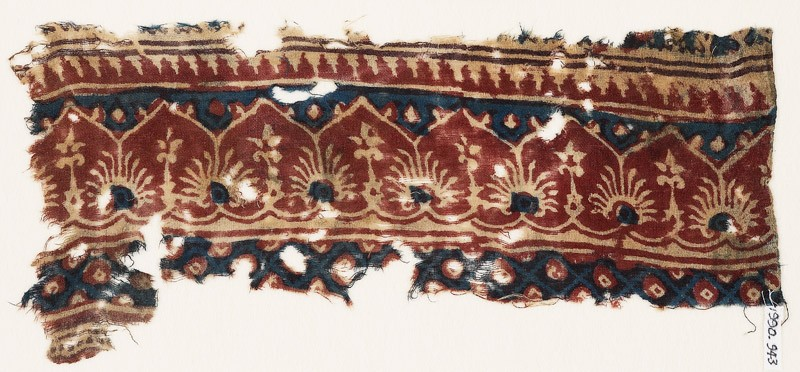 Textile fragment with arches, palmettes, and flowers (front            )
