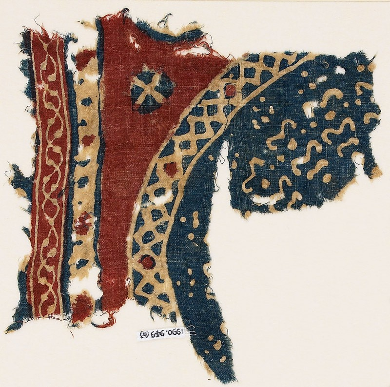 Textile fragment with bands and part of a large circle (EA1990.949.a, front              )
