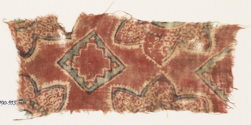 Textile fragment with squares and flowers (EA1990.953, front            )