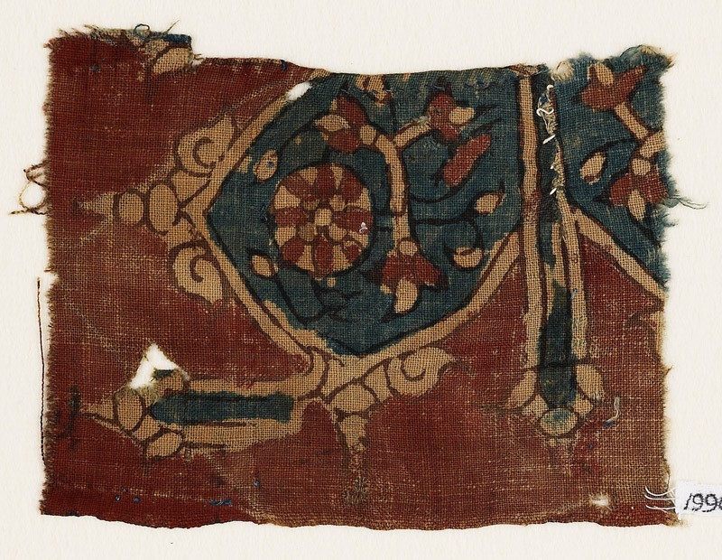 Textile fragment with floral ornaments, flowers, and tendrils