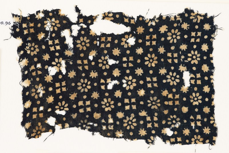 Textile fragment with rosettes, stars, and squares (front           )