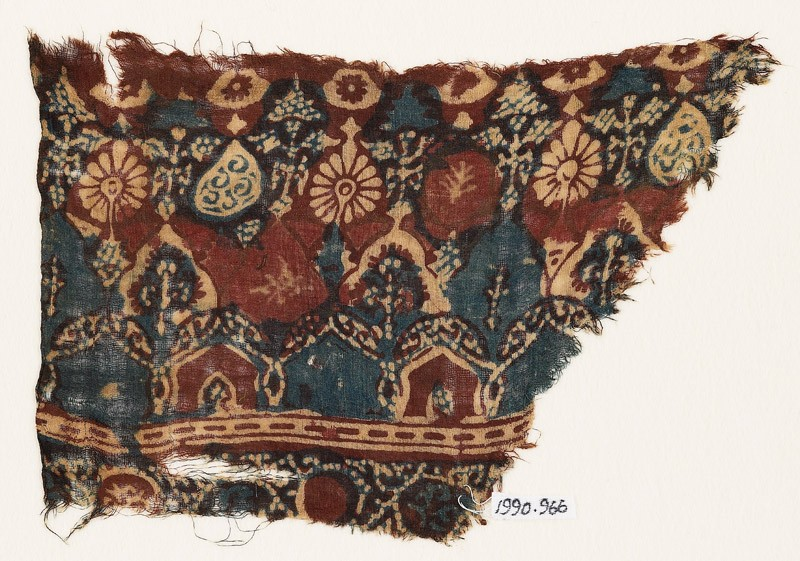 Textile fragment with arches, stylized trees, and rosettes (EA1990.966, front            )