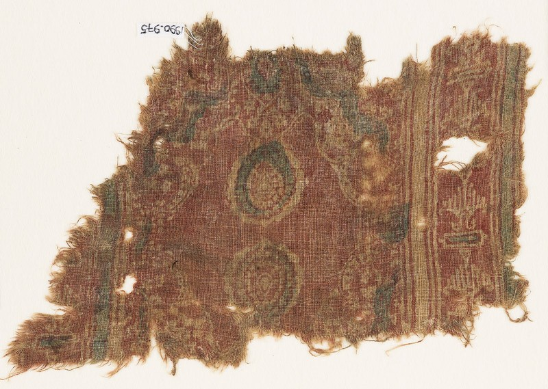 Textile fragment with ovals and possibly stylized birds (front            )