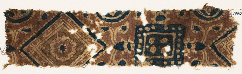 Textile fragment with squares and diamond-shapes (EA1990.976, front            )