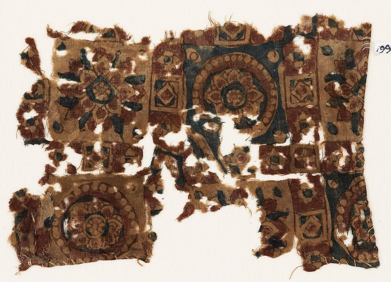 Textile fragment with squares, rosettes, and flower-heads