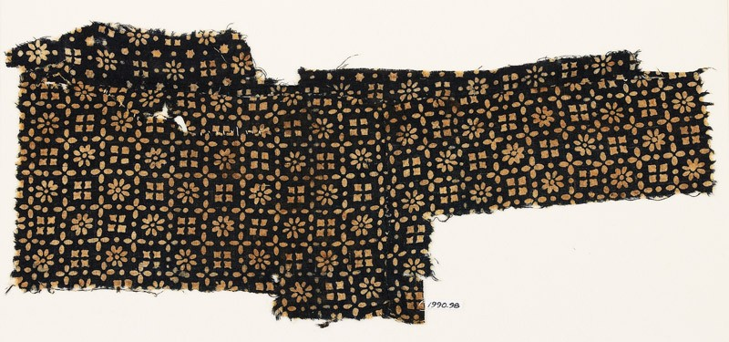 Textile fragment with flowers, rosettes, and squares