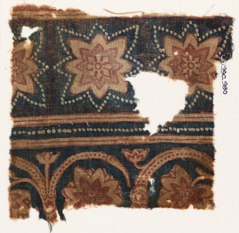 Textile fragment with star-shaped flowers (EA1990.980, front            )