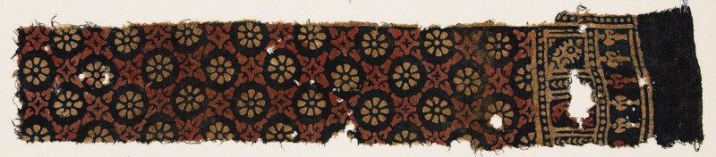 Textile fragment with rosettes and quatrefoils