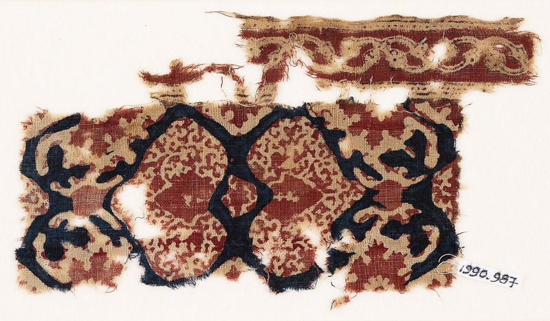 Textile fragment with hearts and tendrils (EA1990.987, front            )