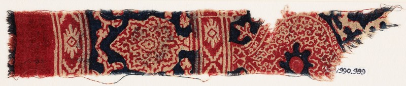 Textile fragment with oval medallion and possibly a tree (EA1990.989, front            )