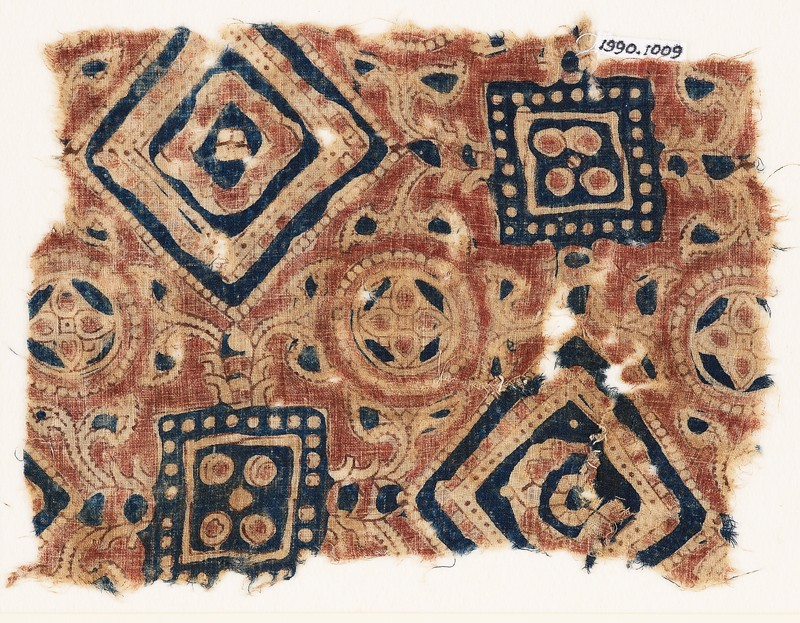 Textile fragment with squares, circles, and quatrefoils
