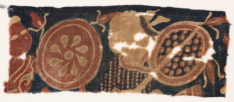 Textile fragment with two warriors (EA1990.1010, front             )