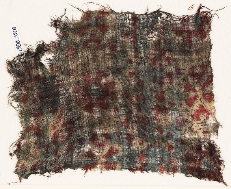 Textile fragment, possibly with medallions and cartouches (EA1990.1016, front             )