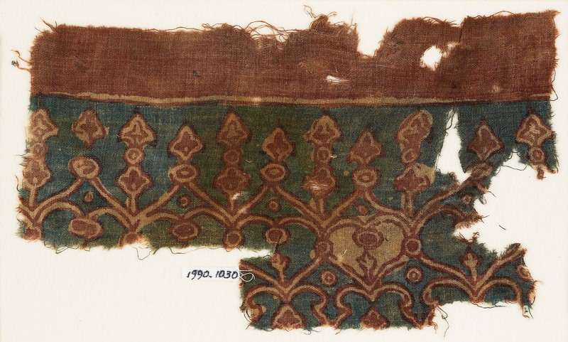Textile fragment with linked hearts and arches