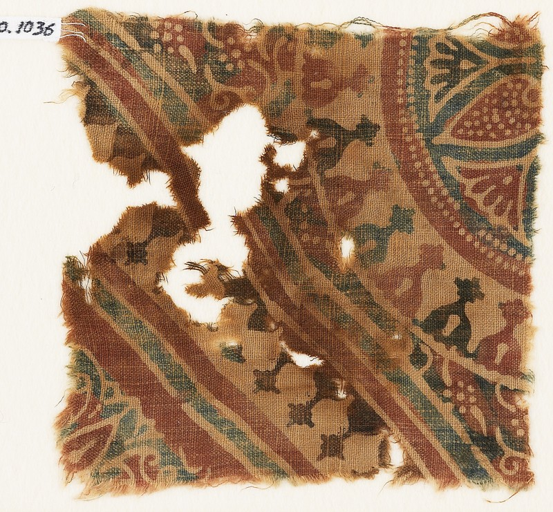 Textile fragment with stylized bodhi leaves, rosettes, and tendrils (EA1990.1036, front             )