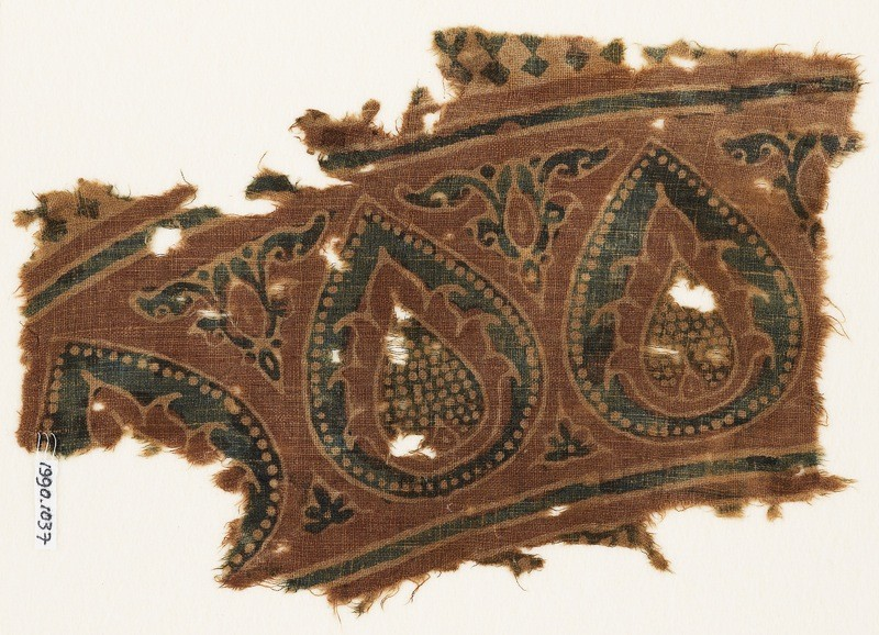 Textile fragment with tear-drops and leaves (EA1990.1037, front             )