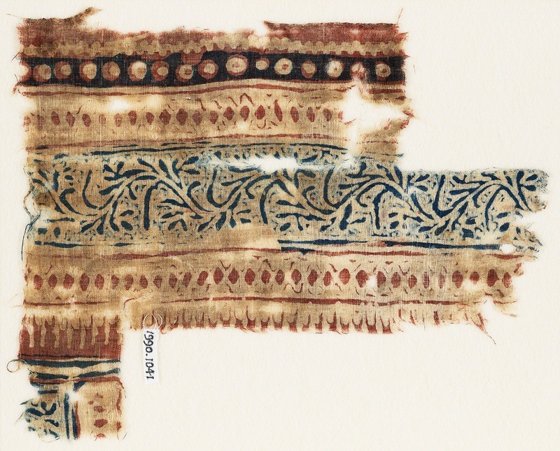 Textile fragment with vine and dots