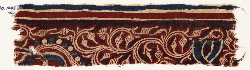 Textile fragment with vine, tendrils, and fruit (EA1990.1045, front             )