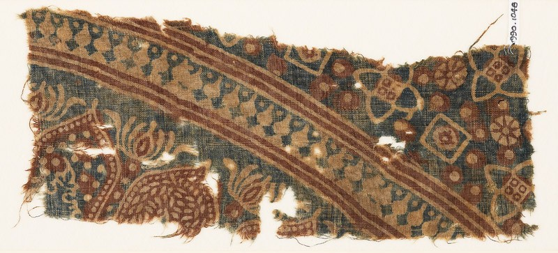 Textile fragment with arches and stylized trees (EA1990.1048, front             )