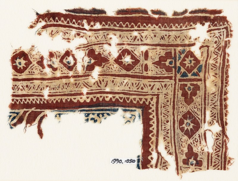 Textile fragment with medallions and zigzags