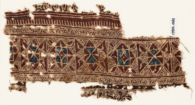 Textile fragment with interlocking squares and triangles (EA1990.1052, front             )