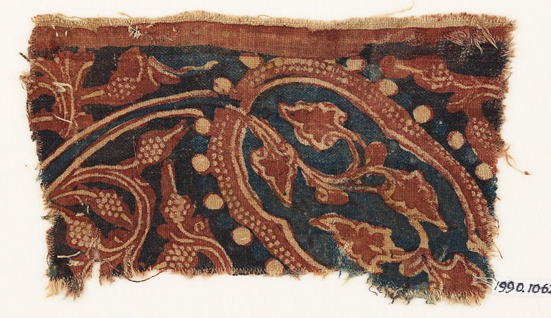 Textile fragment with stem, tendrils, and bunches of fruit (EA1990.1062, front             )