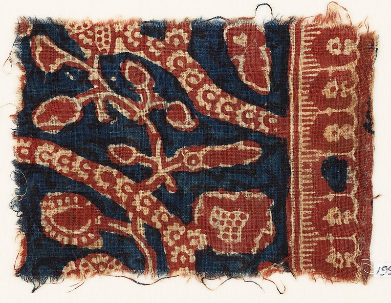 Textile fragment with tendrils, leaves, and rosettes (EA1990.1063, front             )