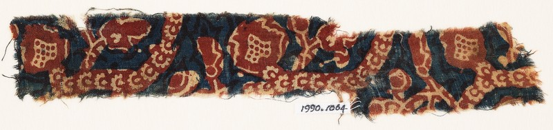 Textile fragment with tendrils and rosettes (EA1990.1064, front             )