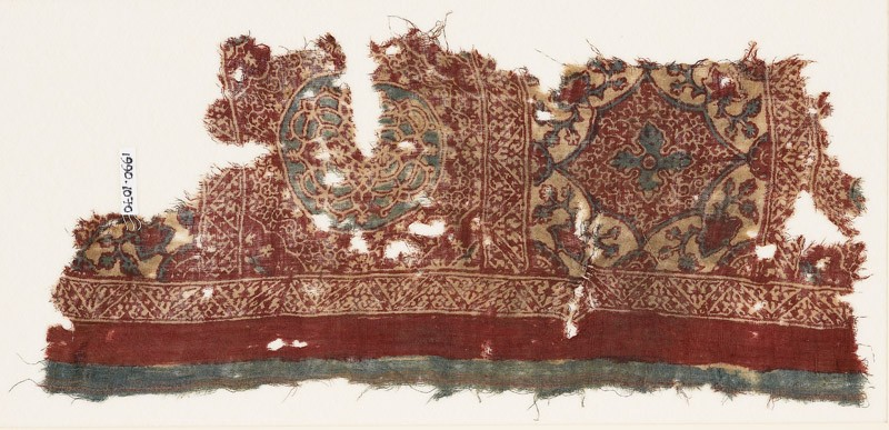 Textile fragment with medallions, tendrils, and zigzags (EA1990.1070, front             )