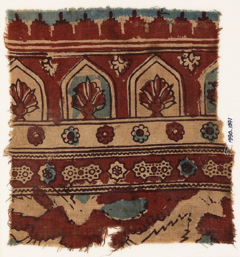 Textile fragment with arches, plants, and stars (front             )