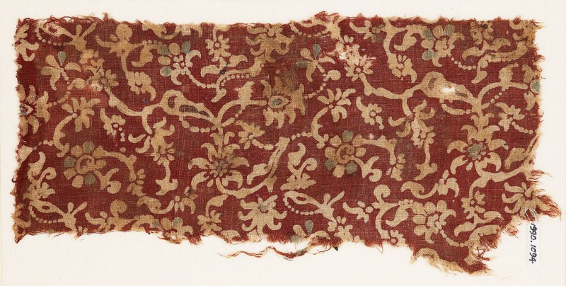 Textile fragment with tendrils, leaves, and flowers (EA1990.1094, front             )