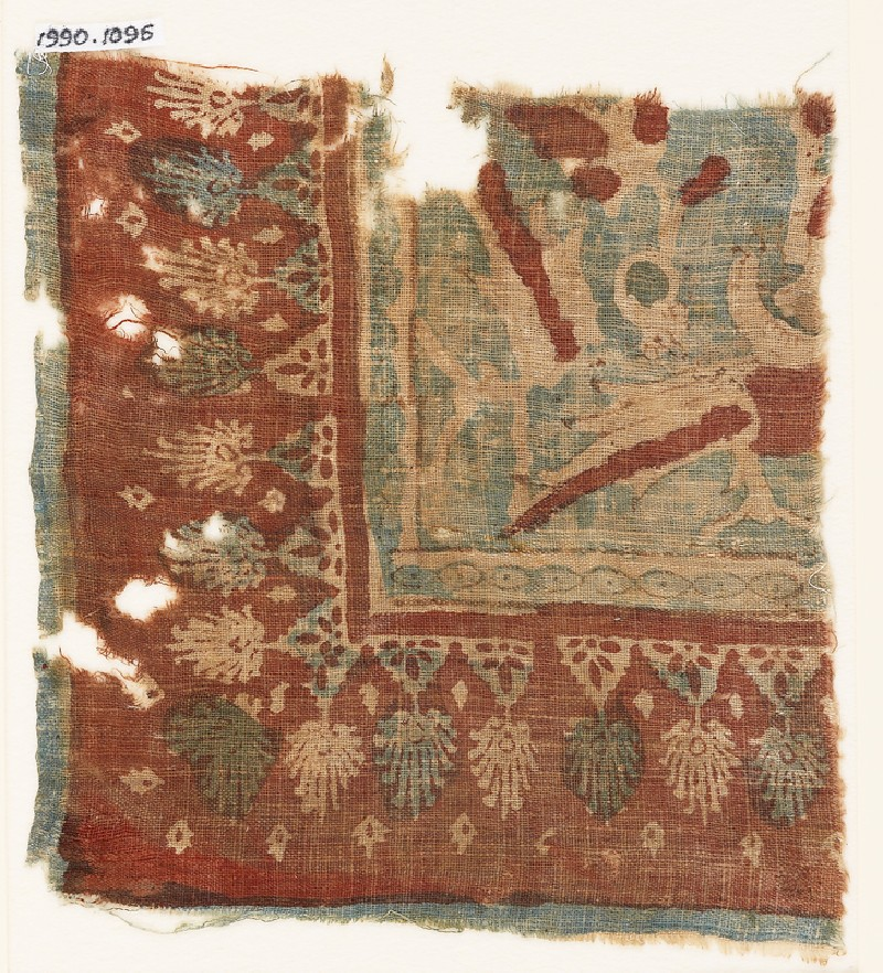 Textile fragment with parrots and palmettes