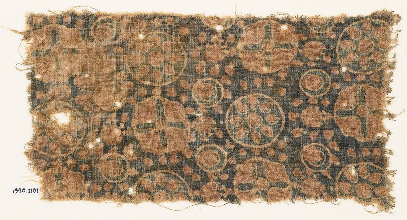 Textile fragment with circles, rosettes, and crosses (front             )