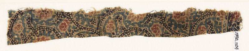Textile fragment with tendrils, dots, and flowers