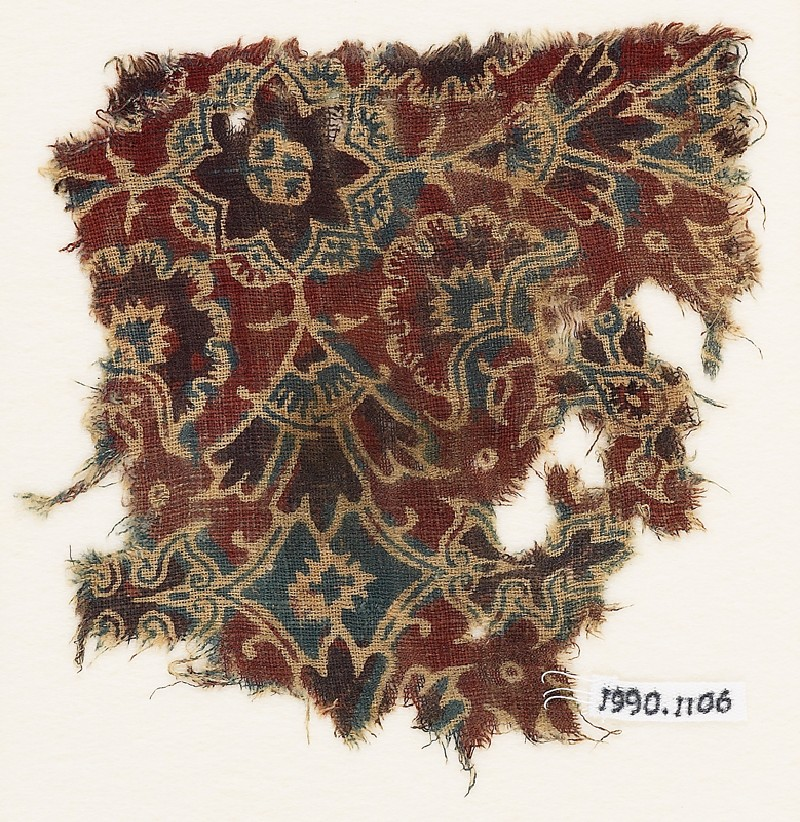 Textile fragment with elaborate flowers (front             )